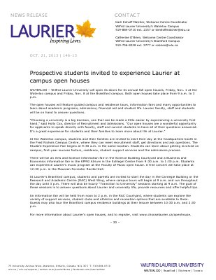 146-2013 : Prospective students invited to experience Laurier at campus open houses