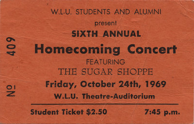 The Sugar Shoppe ticket, 1969