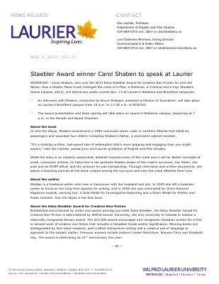 151-2013 : Staebler Award winner Carol Shaben to speak at Laurier