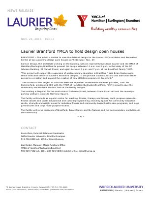 163-2013 : Laurier Brantford YMCA to hold design open houses