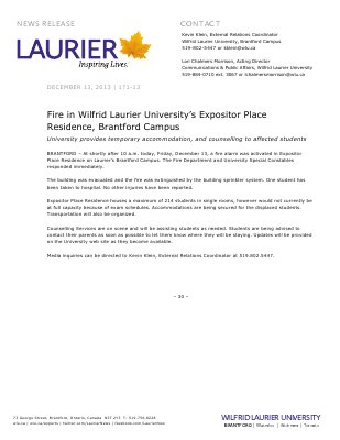 171-2013 : Fire in Wilfrid Laurier University's Expositor Place Residence, Brantford Campus