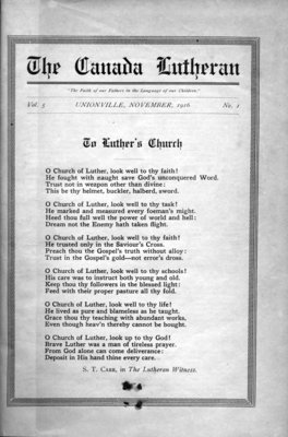 The Canada Lutheran, vol. 5, no. 1, November 1916