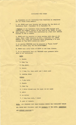 Initiation Week rules, Waterloo Lutheran University, 1967