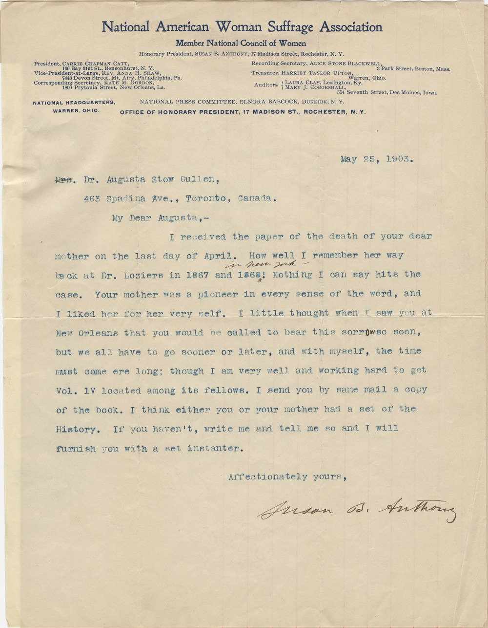 Condolence letter from Susan B. Anthony to August, about the death of Emily. Courtesy the Wilfrid Laurier University Archives.