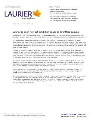 011-2014 : Laurier to open new art exhibition space on Brantford campus