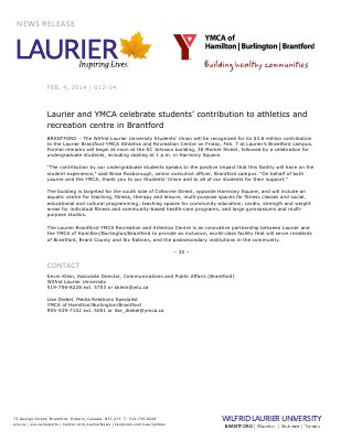 012-2014 : Laurier and YMCA celebrate students' contribution to athletics and recreation centre in Brantford