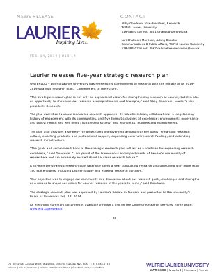 018-2014 : Laurier releases five-year strategic research plan