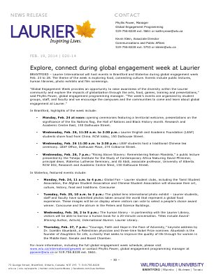 020-2014 : Explore, connect during global engagement week at Laurier