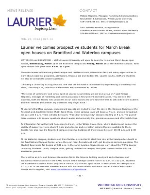 027-2014 : Laurier welcomes prospective students for March Break open houses on Brantford and Waterloo campuses