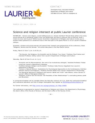 038-2014 : Science and religion intersect at public Laurier conference