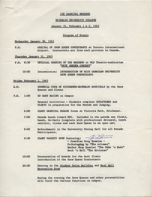 Ice Carnival Weekend, Waterloo University College, January 31, February 1&2, 1963 : program of events