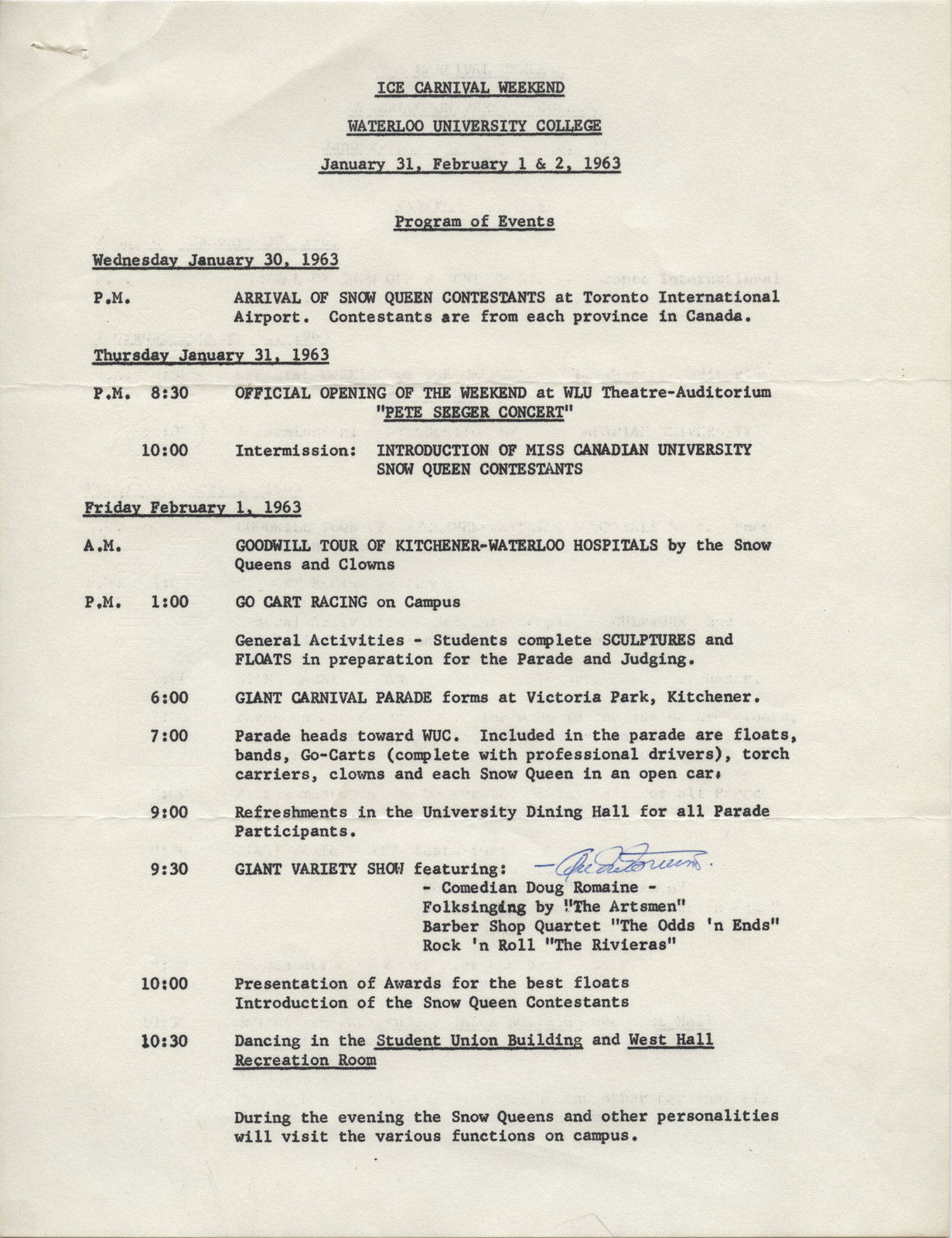 Ice Carnival Weekend, Waterloo University College, January 31, February 1&2, 1963 : program of events