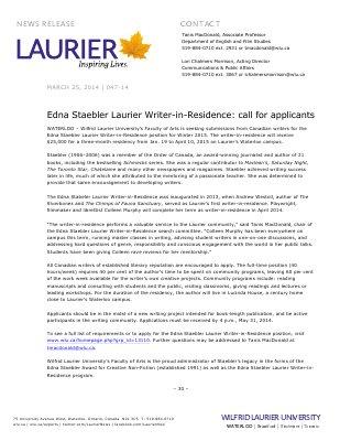 047-2014 : Edna Staebler Laurier Writer-in-Residence: call for applicants