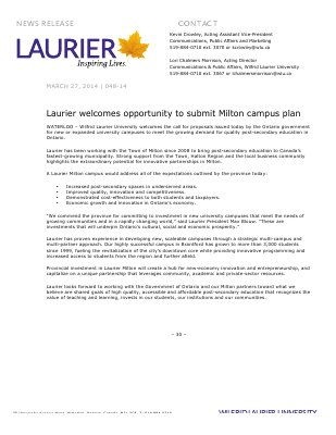 048-2014 : Laurier welcomes opportunity to submit Milton campus plan