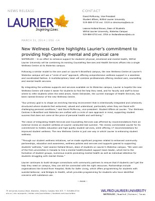050-2014 : New Wellness Centre highlights Laurier's commitment to providing high-quality mental and physical care