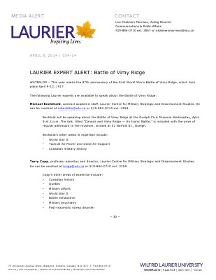 054-2014 : LAURIER EXPERT ALERT: Battle of Vimy Ridge