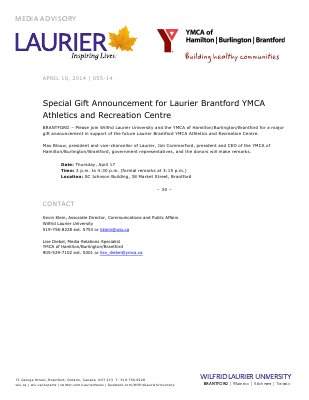 055-2014 : Special Gift Announcement for Laurier Brantford YMCA Athletics and Recreation Centre