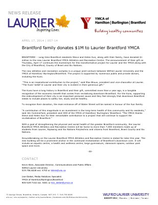 057-2014 : Brantford family donates $1M to Laurier Brantford YMCA