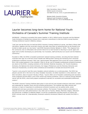 058-2014 : Laurier becomes long-term home for National Youth Orchestra of Canada's Summer Training Institute