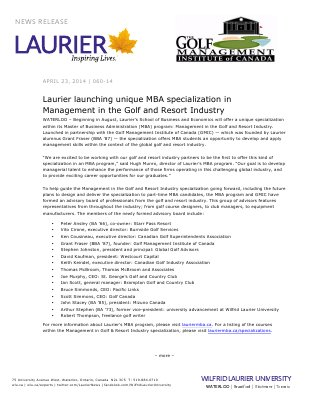 060-2014 : Laurier launching unique MBA specialization in Management in the Golf and Resort Industry