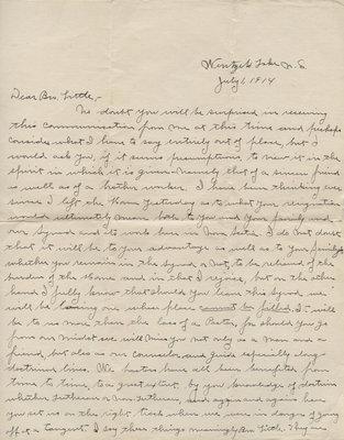 E. V. Nonamaker to Carroll Herman Little, July 1, 1914