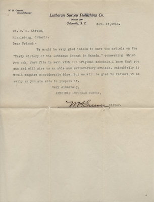 Letter to Carroll Herman Little from W. H. Greever, October 17, 1916