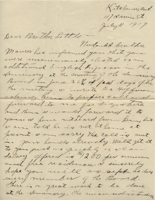 Letter from H. J. Behrens to Carroll Herman Little, July 4, 1917