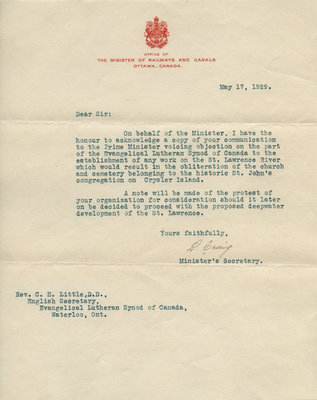 Letter from the Minister of Railways and Canals office to Carroll Herman Little, May 17, 1929