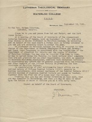 Letter to Herman Schorten from J. Maurer, September 12, 1923