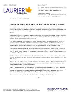 106-2014 : Laurier launches new website focused on future students