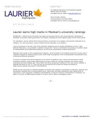 108-2014 : Laurier earns high marks in Maclean's university rankings