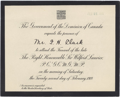 Invitation to the funeral of Sir Wilfrid Laurier Laurier Library – Invitation to a Funeral