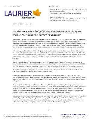 114-2014 : Laurier receives $500,000 social entrepreneurship grant from J.W. McConnell Family Foundation