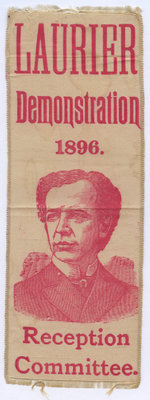 Wilfrid Laurier political campaign ribbon, 1896