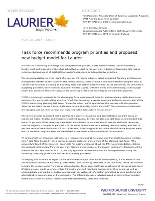 126-2014 : Task force recommends program priorities and proposed new budget model for Laurier