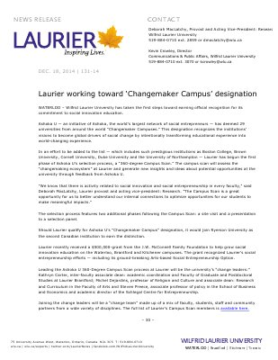 131-2014 : Laurier working toward 'Changemaker Campus' designation