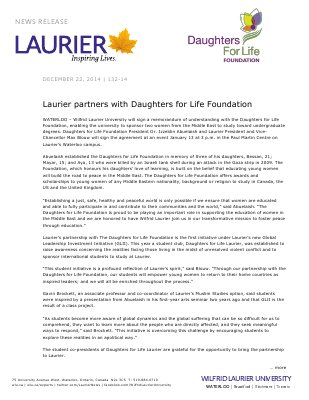 132-2014 : Laurier partners with Daughters for Life Foundation