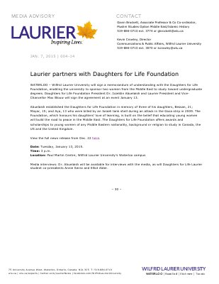 004-2015 : Laurier partners with Daughters for Life Foundation