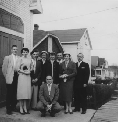 Group gathered in front of Finnish Evangelical Lutheran Church, Kirkland Lake, Ontario