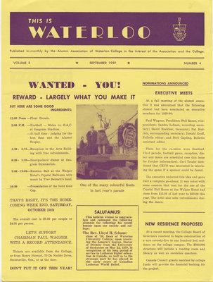 This is Waterloo, September 1959, volume 3, number 4
