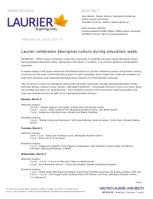 031-2015 : Laurier celebrates Aboriginal culture during education week