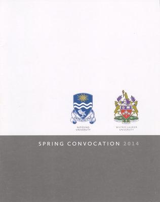 Wilfrid Laurier University-Nipissing spring convocation program, 2014