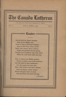 The Canada Lutheran, vol. 7, no. 6, April 1919