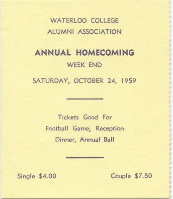 1959 Waterloo College Homecoming weekend ticket