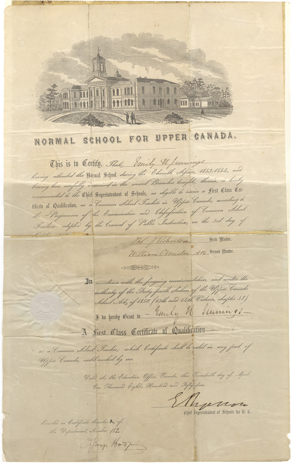 Emily H. Stowe's teaching certificate, signed by Egerton Ryerson, 1854. Courtesy the Wilfrid Laurier University Archives.