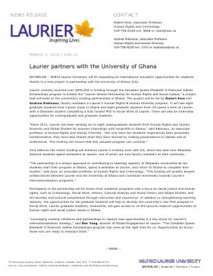 039-2015 : Laurier partners with the University of Ghana