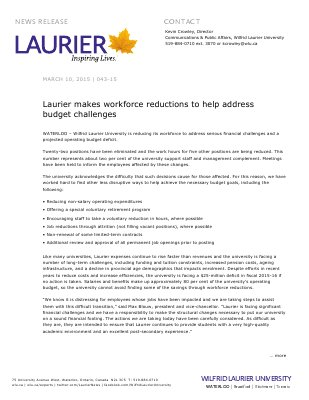 043-2015 : Laurier makes workforce reductions to help address budget challenges