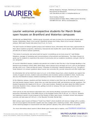 047-2015 : Laurier welcomes prospective students for March Break open houses on Brantford and Waterloo campuses