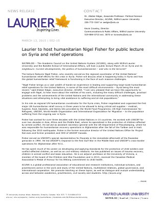 052-2015 : Laurier to host humanitarian Nigel Fisher for public lecture on Syria and relief operations