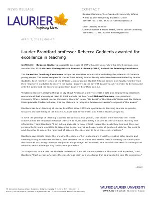066-2015 : Laurier Brantford professor Rebecca Godderis awarded for excellence in teaching